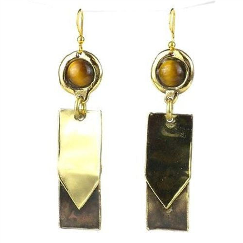 Golden Tiger Eye To the Point Brass Earrings - Brass Images (E)