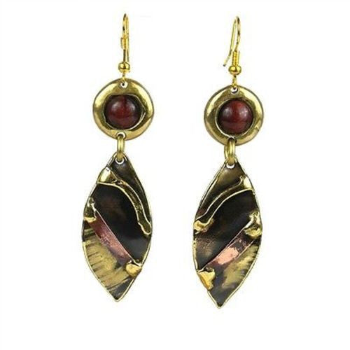 Red Tiger Eye Reflections Copper and Brass Earrings - Brass Images (E)