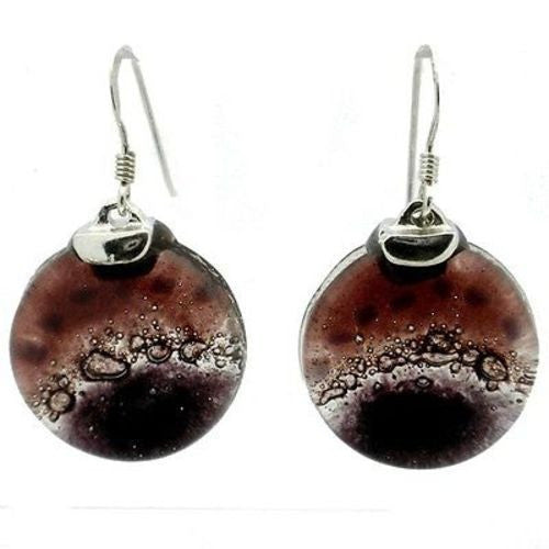 Ripe Plum Fused Glass Earrings with Sterling Silver - Tili Glass