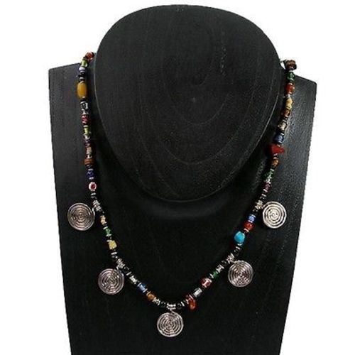 Five Spiral Multicolor Beaded Necklace - Zakali Creations