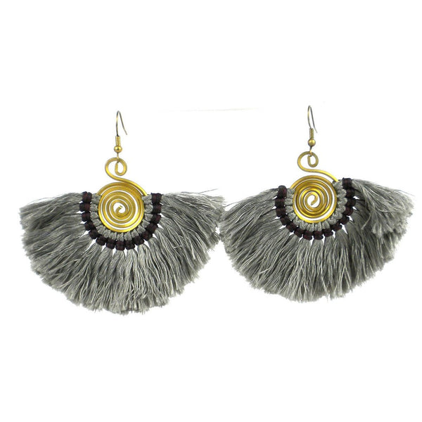 Flamenco Fringe Earrings - Gunmetal - Global Groove (J)