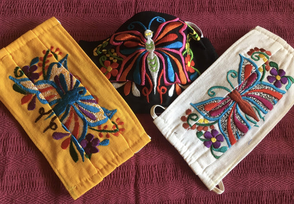 Butterfly Embroidered Fair Trade Cotton Face Mask