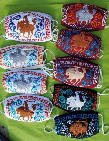 Cute Cowboy Design Child's Size Embroidered Fair Trade Cotton Face Mask