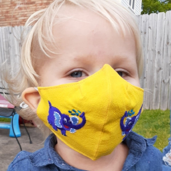 Child Size Embroidered fair trade Cotton Face Mask