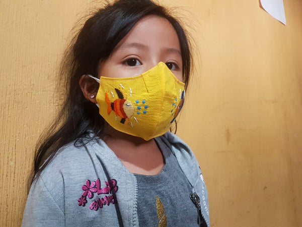 Child's Size Embroidered Fair Trade Cotton Face Mask