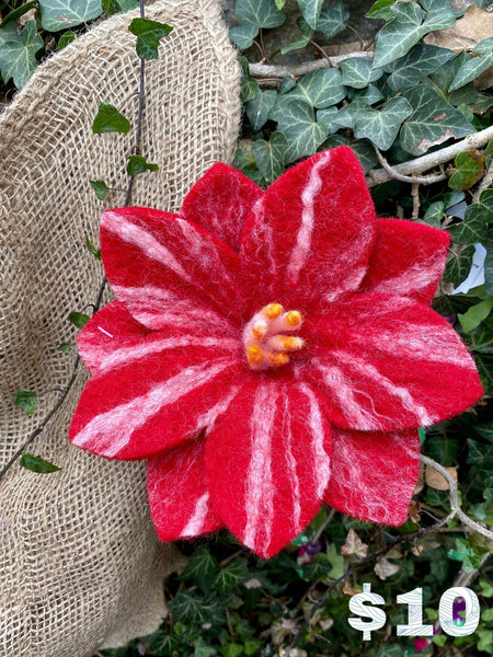 Whimsical Fair Trade Felt Wildflowers Red