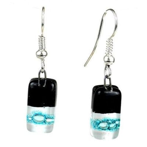 Black Tie Design Small Glass Earrings - Tili Glass