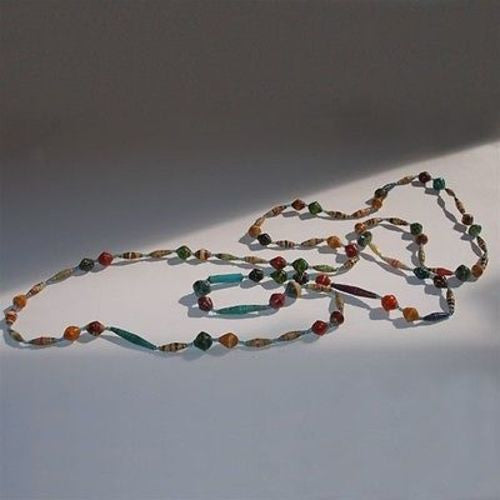 Long Glossy Recycled Paper Necklace - Afrika Pamoja