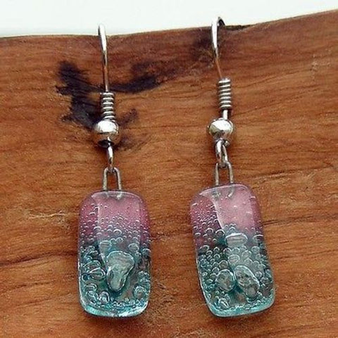 Pink and Blue Bubble Small Glass Earrings - Tili Glass