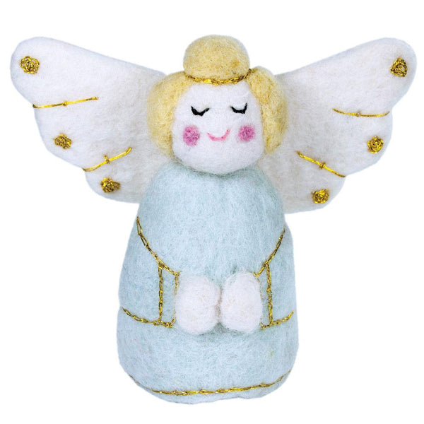 Blue Golden Angel Felt Ornament - Wild Woolies (H)