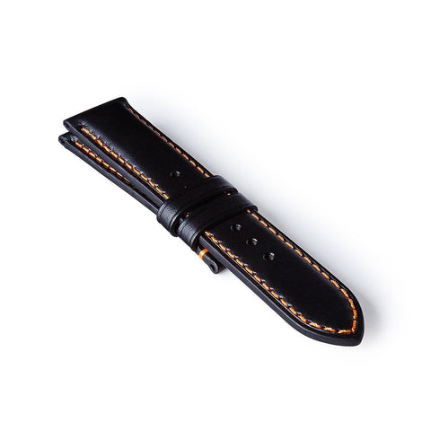 Leather Strap - Black/Orange