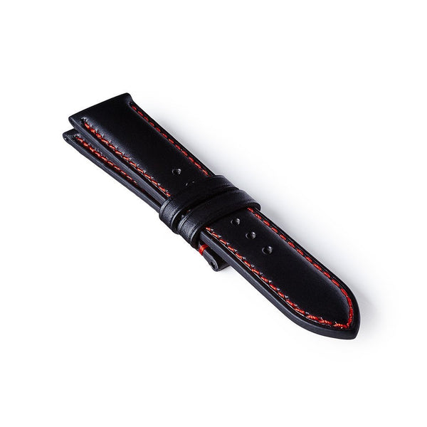 Leather Strap - Black/Red
