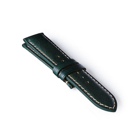 Leather Strap - Green/White