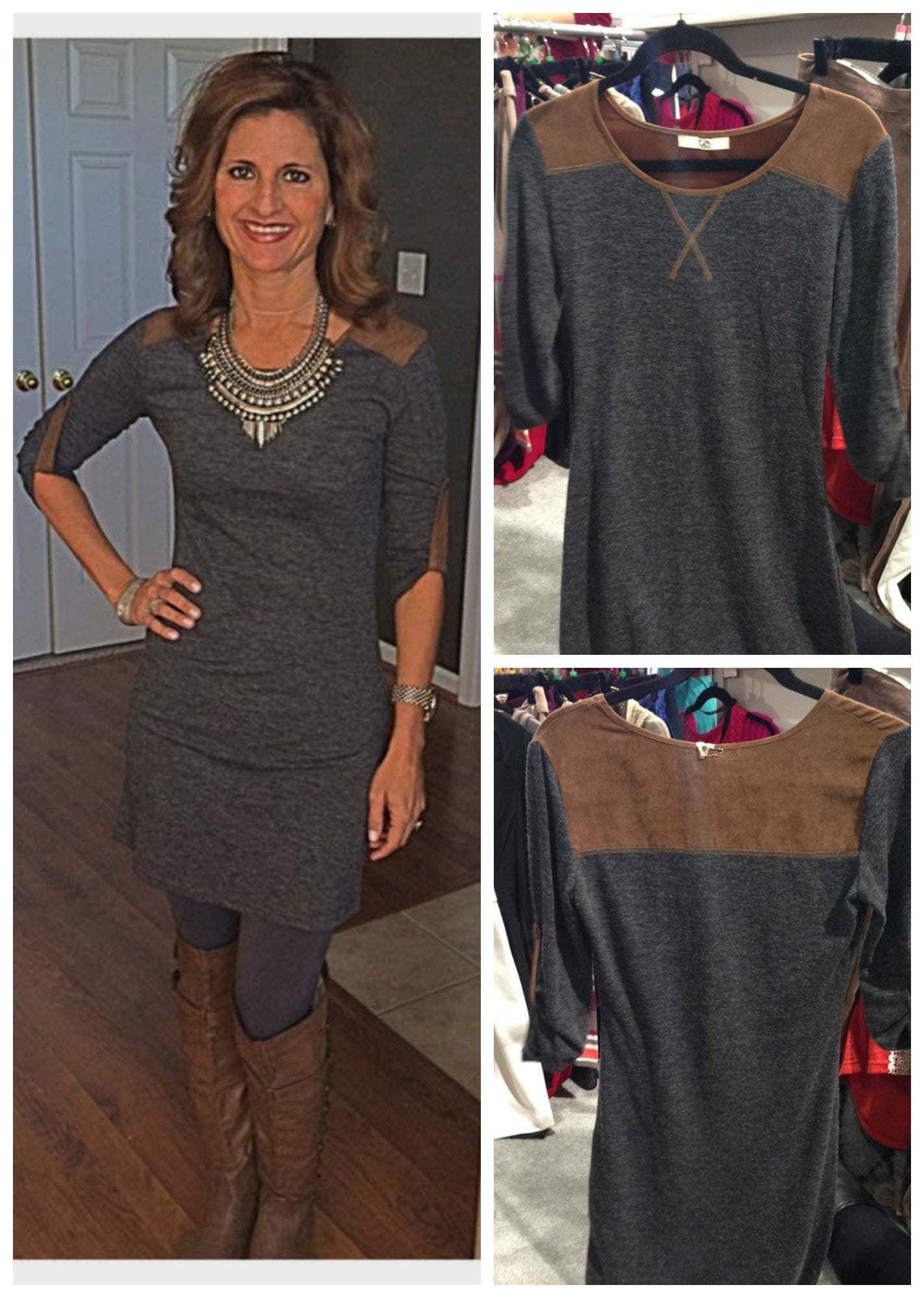 39654ad9165 Charcoal Grey Sweater Dress with Suede Pocket and Elbow Detail - FINAL  CLEARANCE