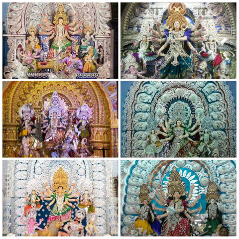 Silver Filigree Tableaux and Jewellery at Durga Puja Pandals in Cuttack