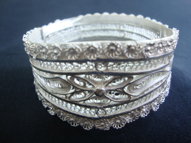 Silver Filigree Bracelet Bangle BG009a