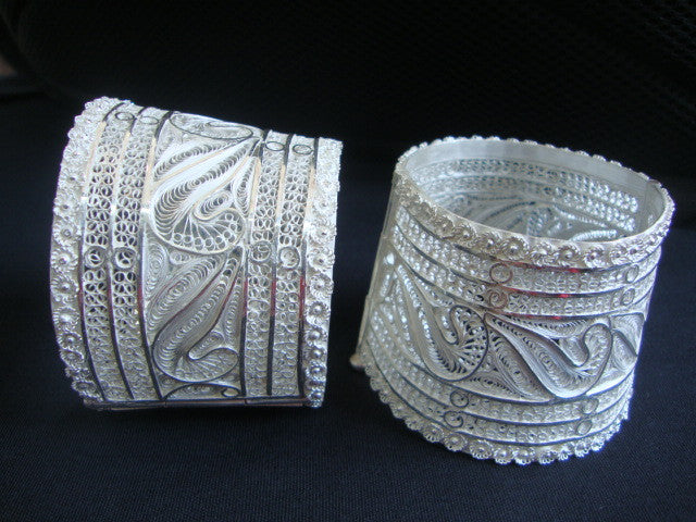 Silver Filigree Bracelet Bangle BG009b