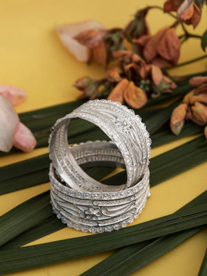 Silver Bangles handmade with Filigree
