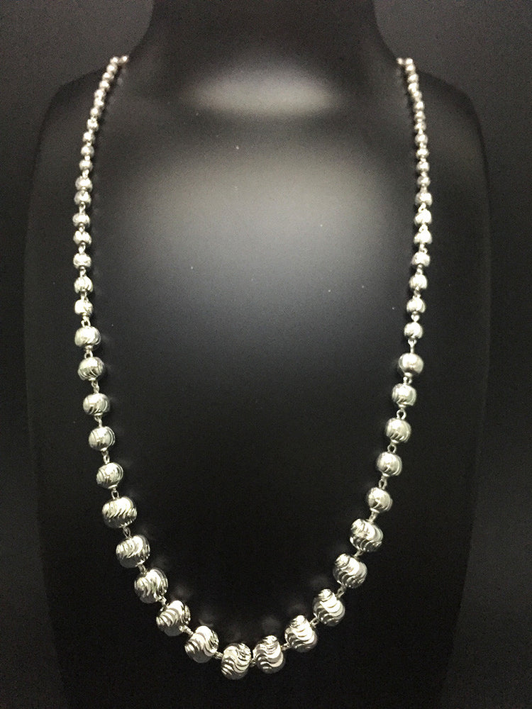 Beaded Silver Chain