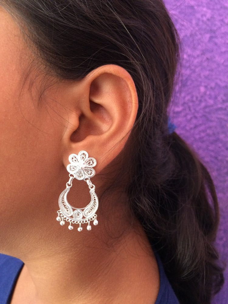 Silver Chandbali Earrings