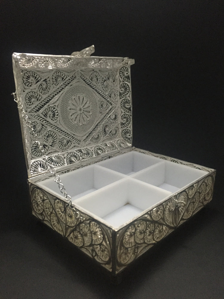 Load image into Gallery viewer, Silver Filigree Jewellery Box