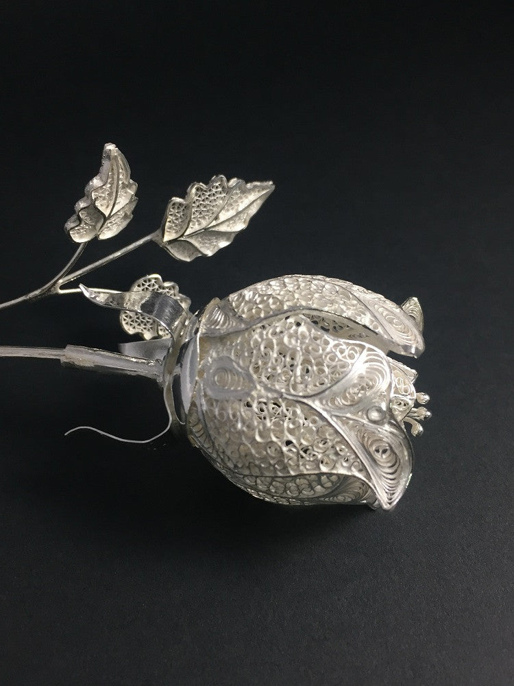 Silver Filigree Rose