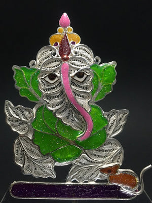 Load image into Gallery viewer, Silver Showpieces Silver Filigree Ganesh SP220 - 3