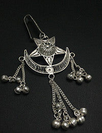 Star and Moon Silver Filigree Ladies Key Ring