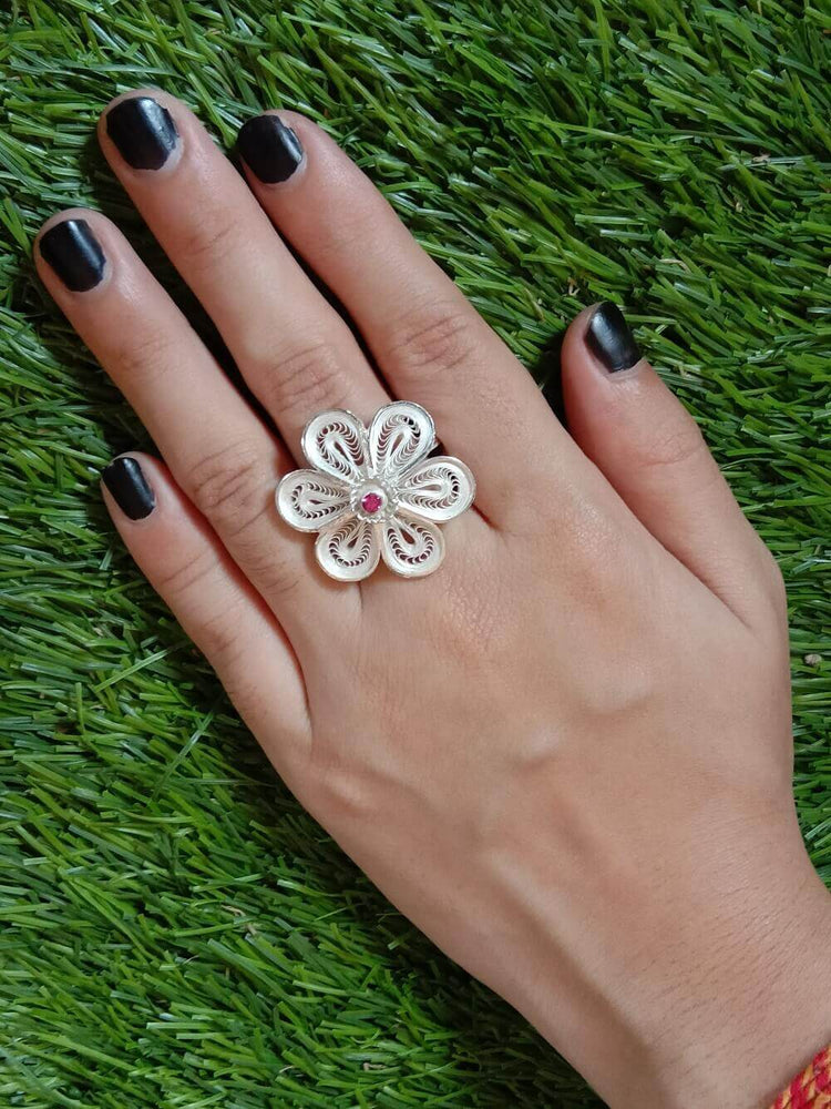 Stone Floral Ring
