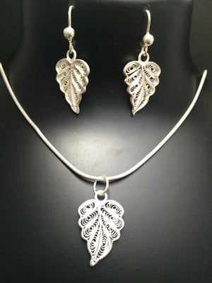 Silver Filigree Pendant Set Leaf PD115 - SilverLinings.in - 4