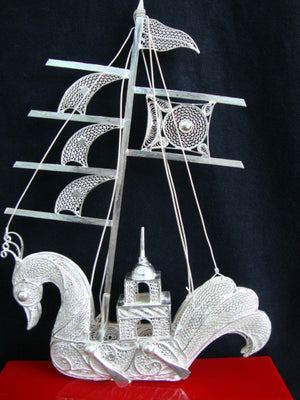 Load image into Gallery viewer, Silver Filigree Ship