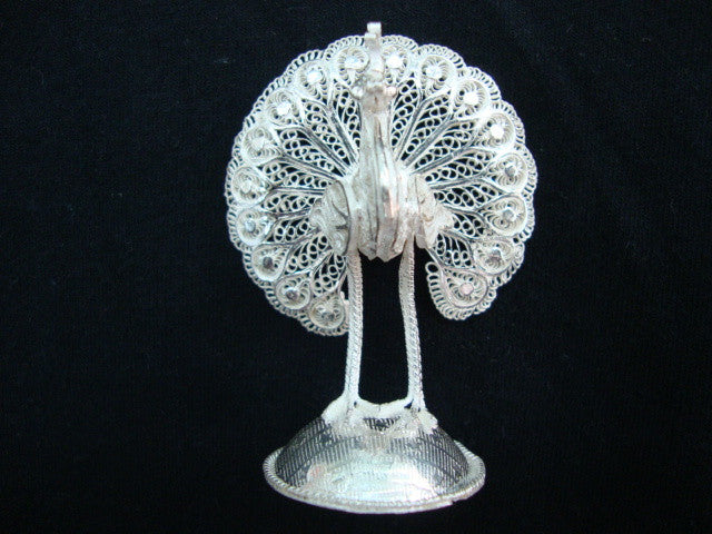 Load image into Gallery viewer, Silver Filigree Peacock
