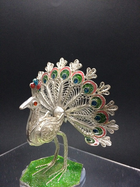 Silver Filigree Peacock