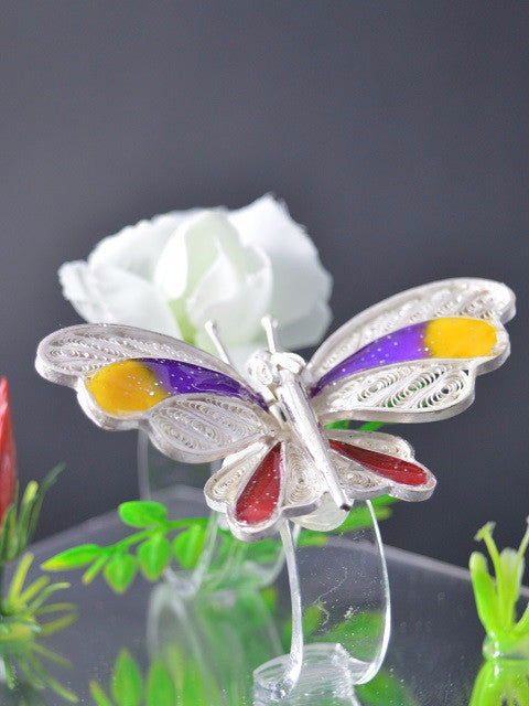 Load image into Gallery viewer, Silver Filigree Butterfly