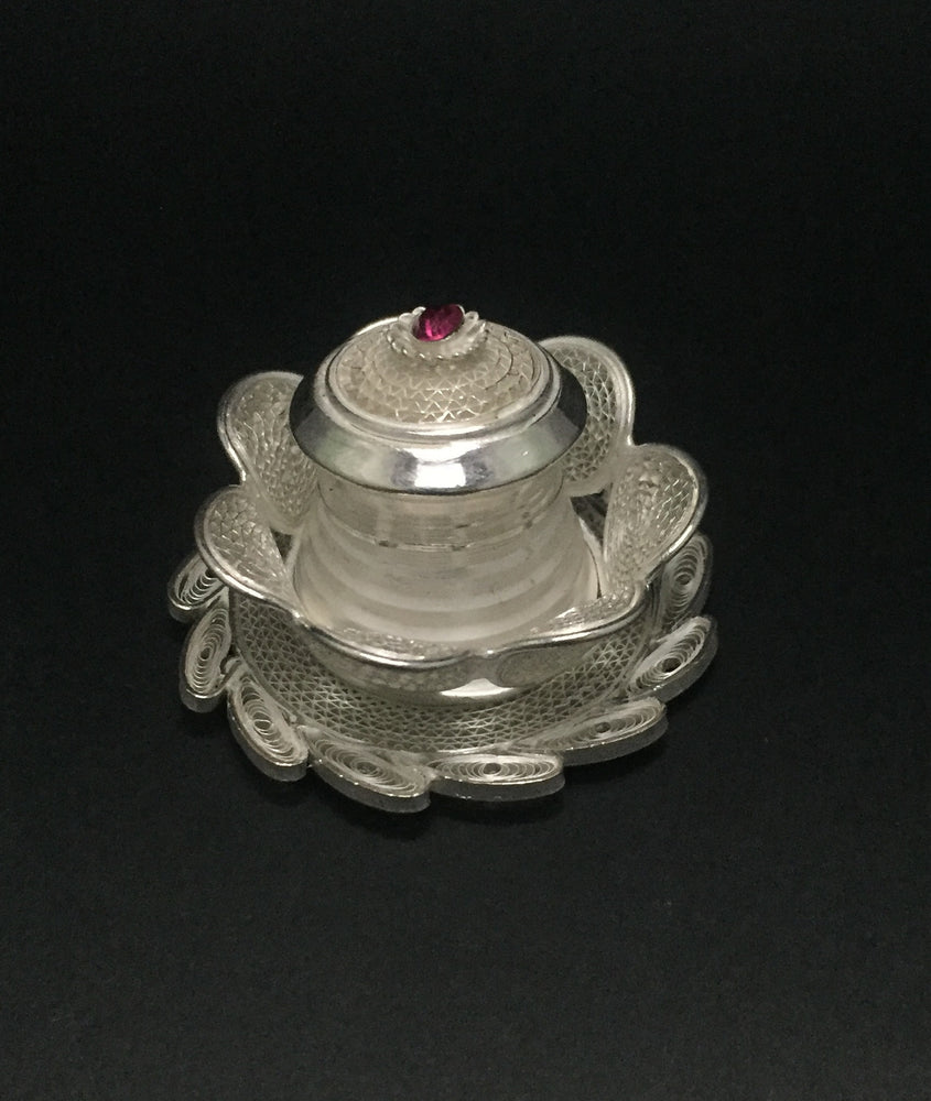Silver Filigree Lotus Sindoor Box