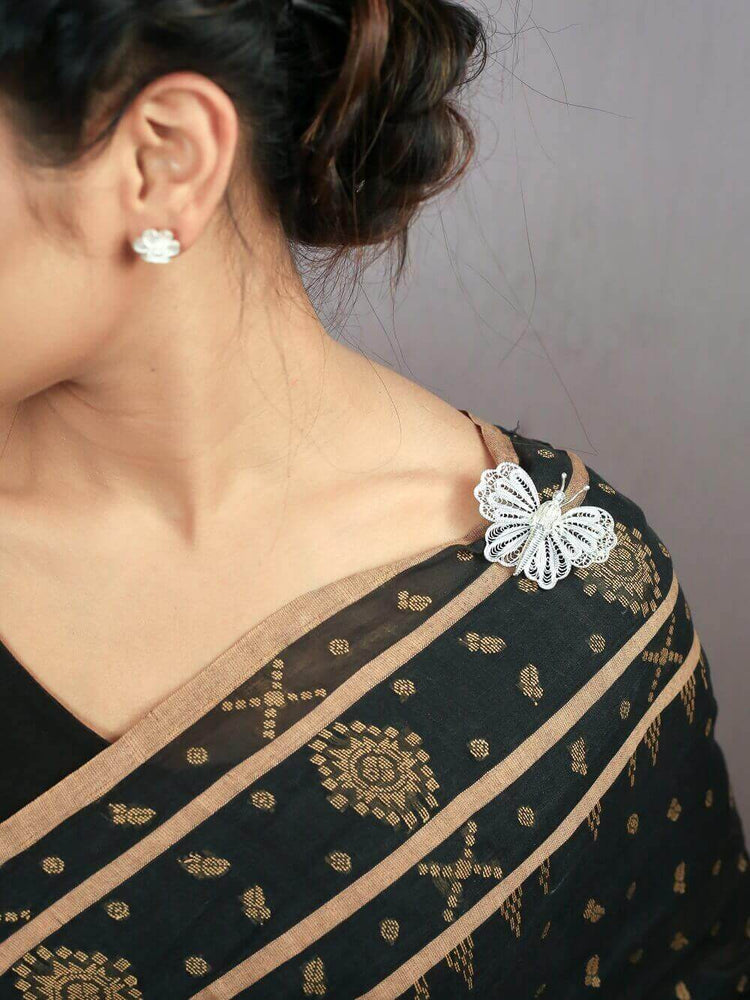 Silver Buttfly saree pin