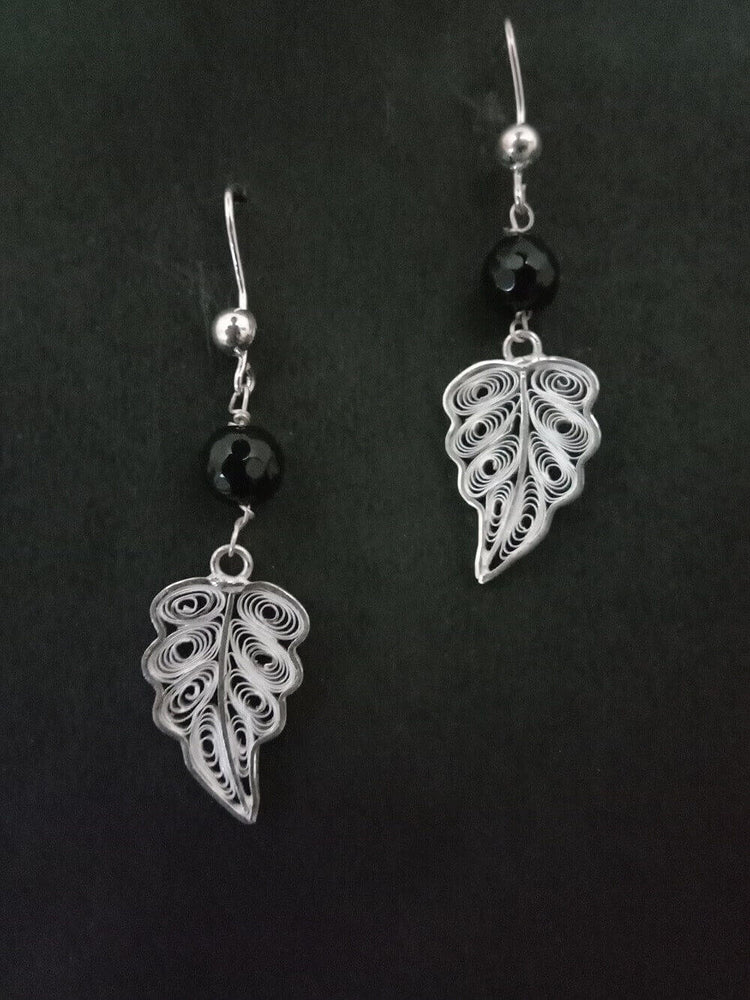 Silver Earrings Leaf