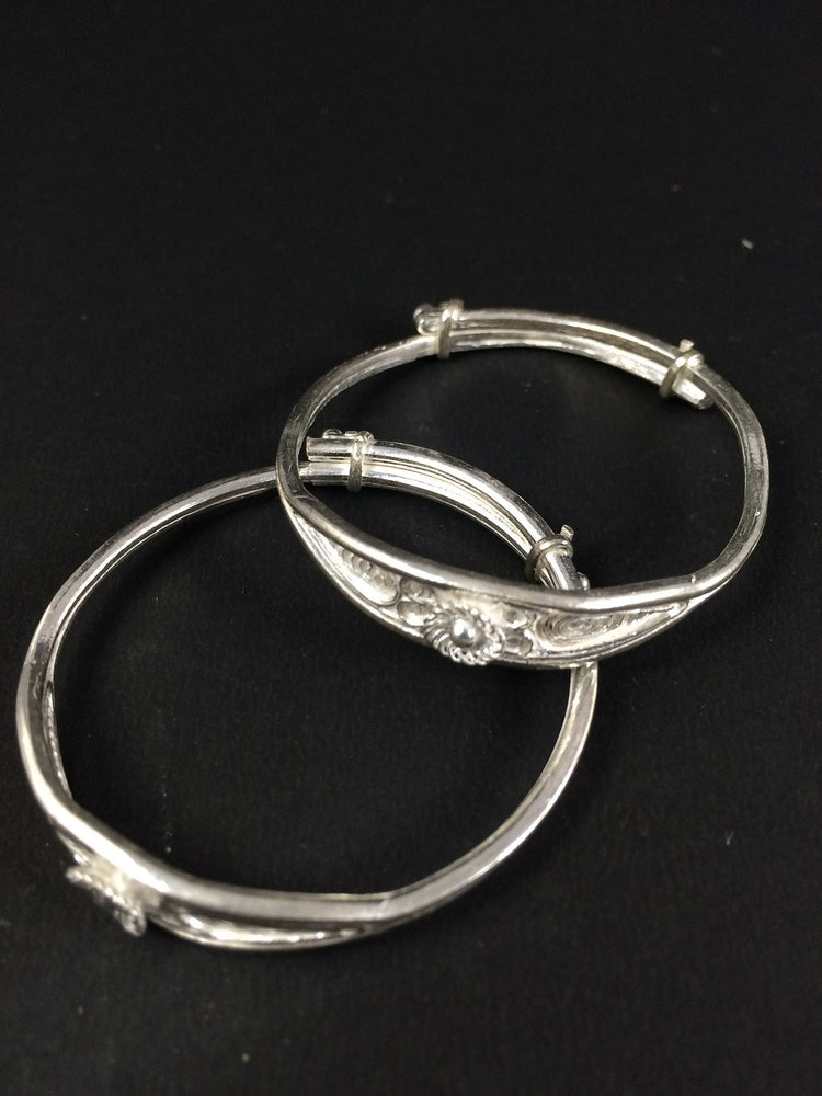 Gifts for babies Silver bangles in filigree