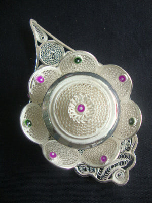 Silver Filigree Sindoor Box