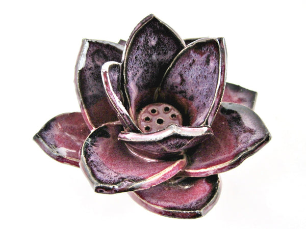handmade flower incense burners, incense holder, yoga decor, home decor - In stock,[handmade pottery],[personalized pottery gift] - Ning's Pottery