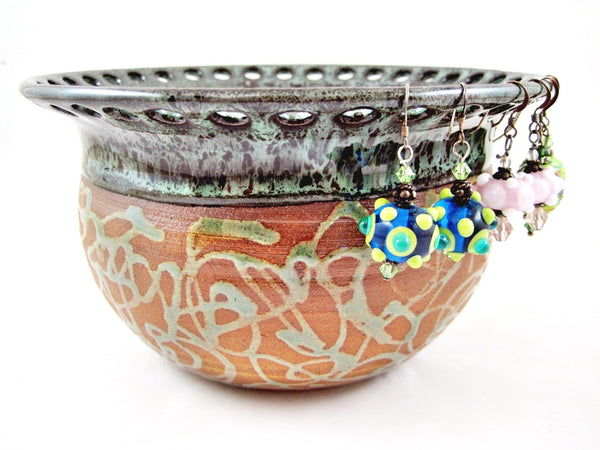 Handmade earring bowl by Ning's Pottery