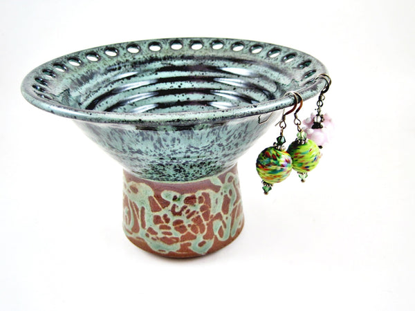 Dark green Jewelry vase, Jewelry holder, earring vase - In stock