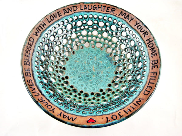 Wedding blessing bowl, Pottery wedding gift - In stock 253 WB