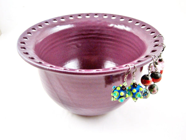 Stoneware purple jewelry holder- Ning's Pottery