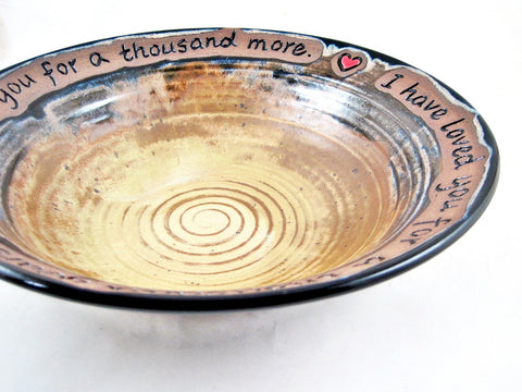 Pottery anniversary bowl in Tan gold / Black - In stock 275 WB