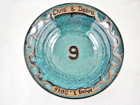Personalized 9th Wedding anniversary bowl - Ning's Pottery