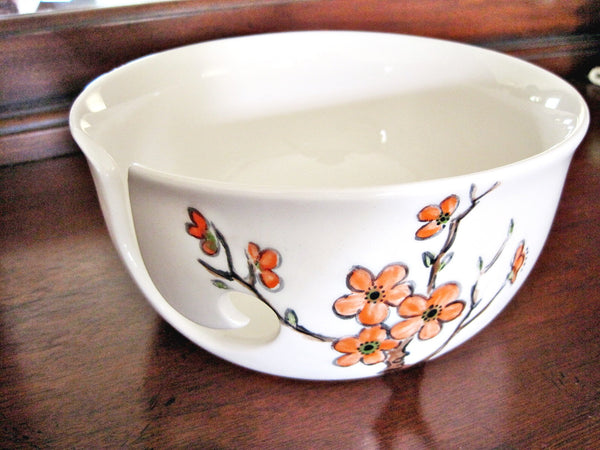 Hand Painted yarn bowl - In stock,[handmade pottery],[personalized pottery gift] - Ning's Pottery