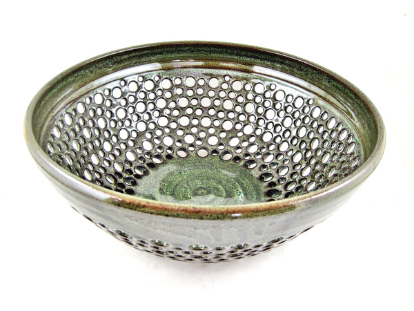 Pottery fruit bowl, Modern ceramics, Olive green lace bowl