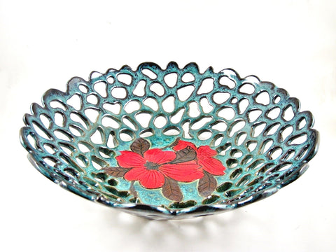 Teal blue fruit bowl with dogwood flower - Ning's Pottery