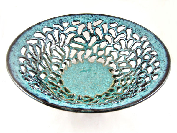 Ceramic Art Decor, Modern Pottery bowl, Teal blue carved ceramic - In stock 319 FB